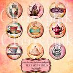 Tea party digital collage sheet