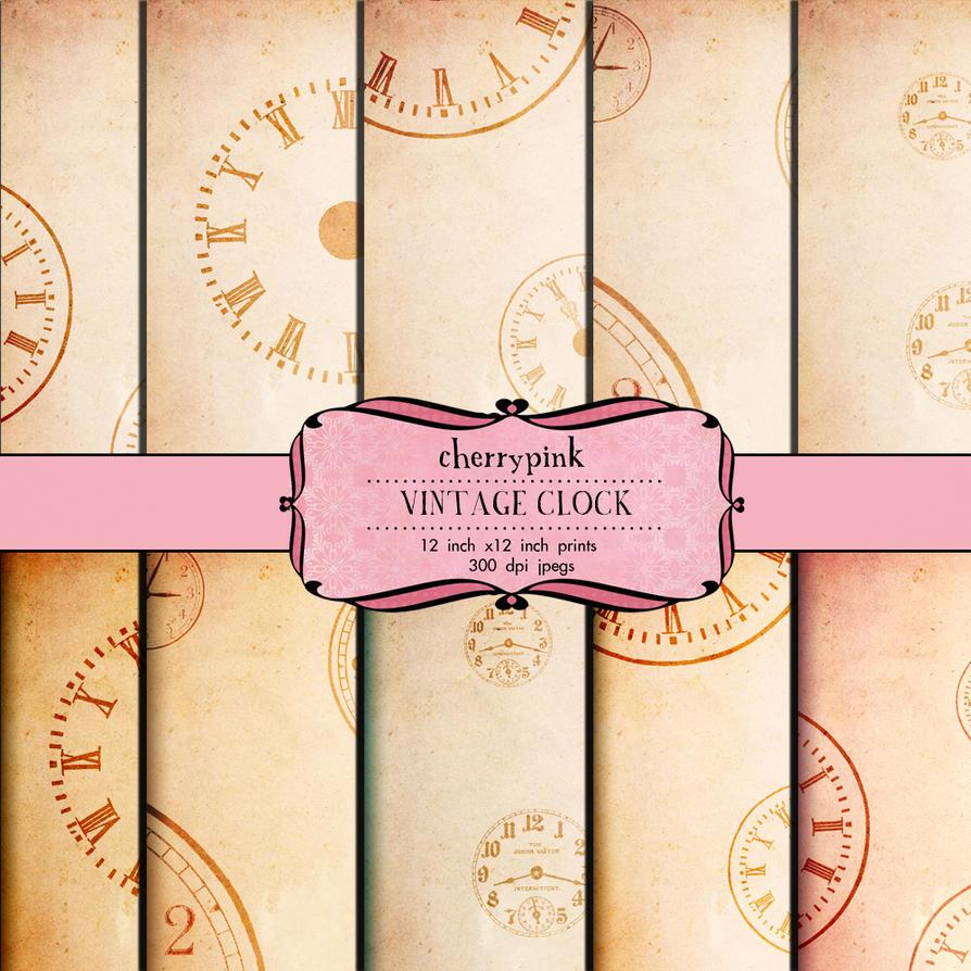 Scrapbook Paper Vintage Clock Steampunk Watch By