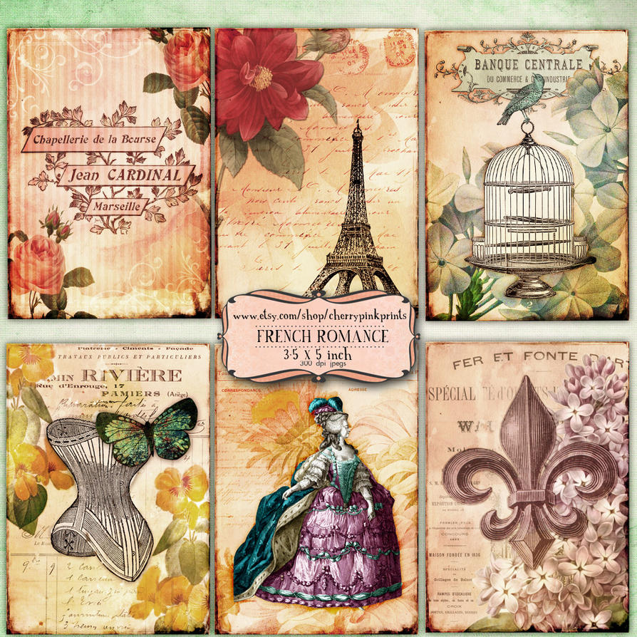 FRENCH ROMANCE Digital collage sheet by miabumbag on ...