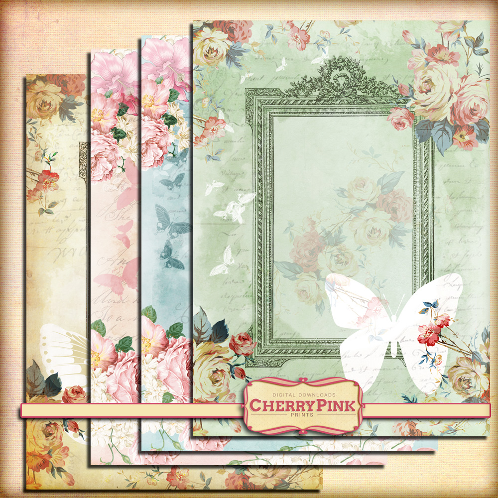 SHABBY BUTTERFLY FRAME digital shabby chic printab by miabumbag on ...