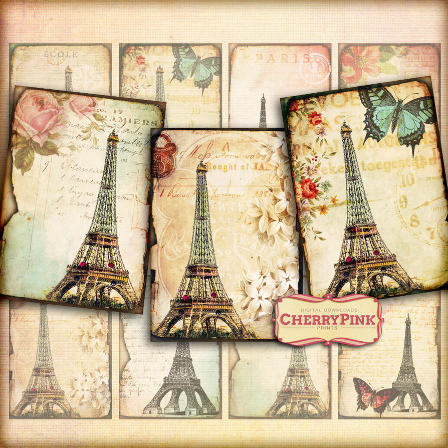 VINTAGE PARIS Digital Collage Sheet scrapbook by miabumbag