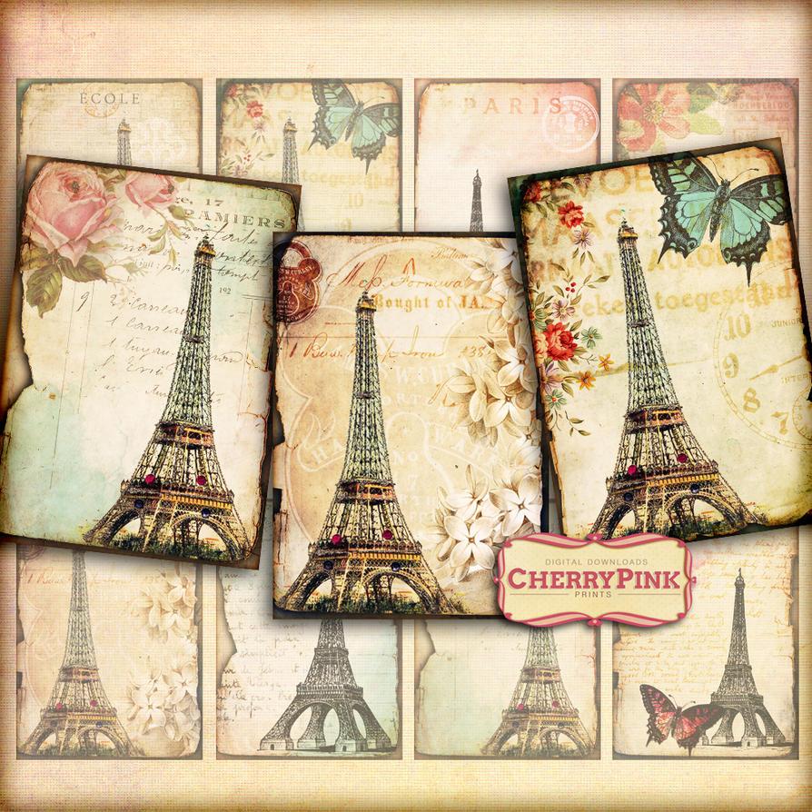Vintage Paris Digital Collage Sheet Scrapbook By Miabumbag