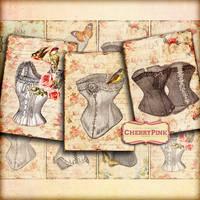 CORSET Collage Sheet, digital scrapbook vintage pr by miabumbag