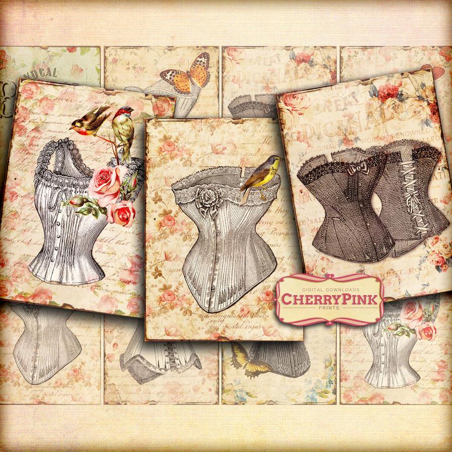 CORSET Collage Sheet, digital scrapbook vintage pr by miabumbag on ...