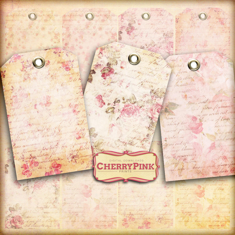Floral Writing Tags Craft Supplies Scrapbook Tag By Miabumbag On
