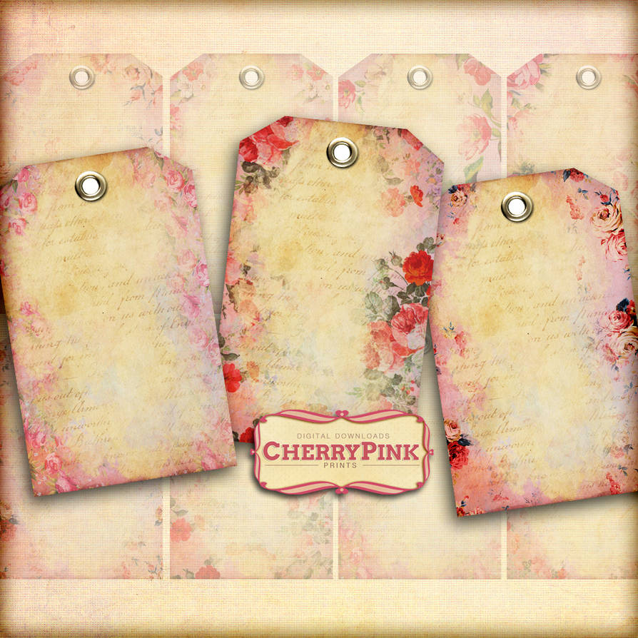 Shabby Floral Pink Tags By Miabumbag On Deviantart