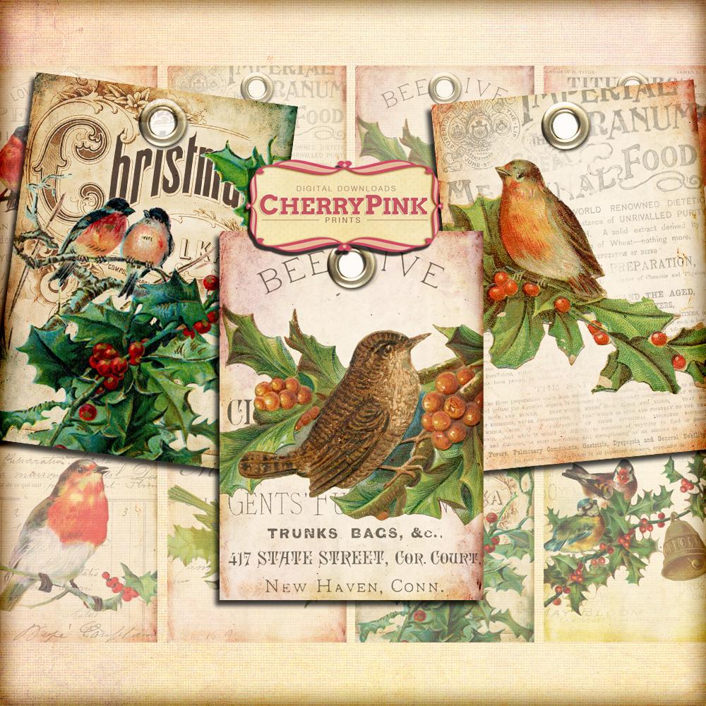 Printable Gift Tags Vintage Birds Printable Digital Download bird images 2 x 3.5