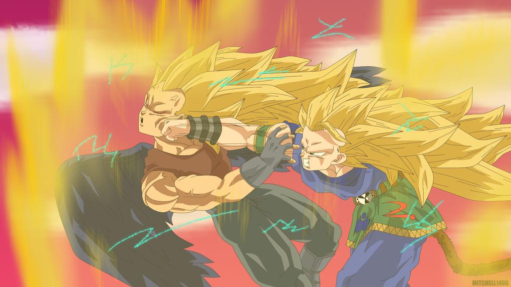 Goku Ssj4 Vs Goku Ssj3: SSJ3 AF Goku VS SSJ3 Dark Angel Vegeta By Mitchell1406 On