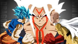 Goku and Saitama VS Evil Saiyan God by Mitchell1406