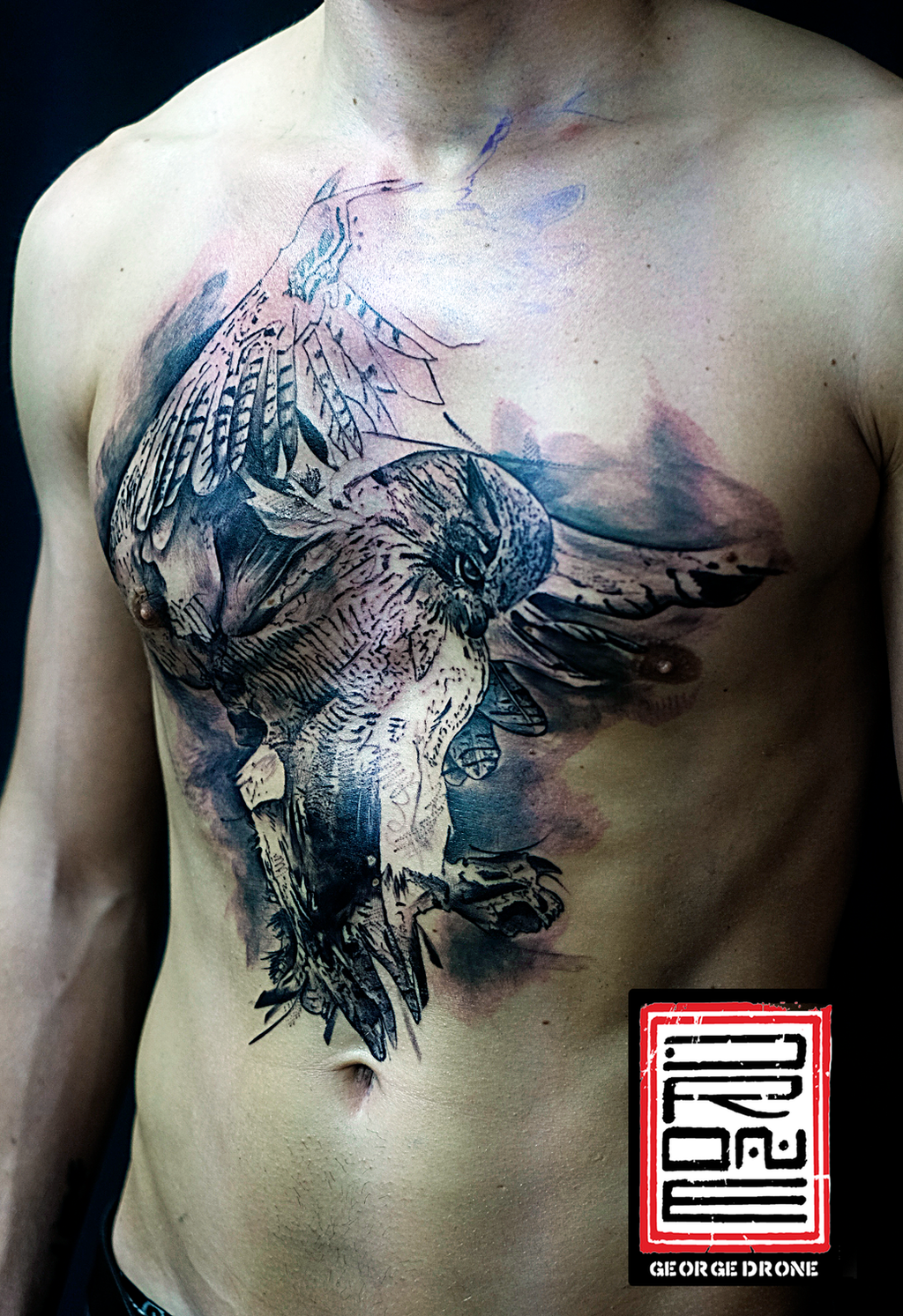 Owl chest tattoo black and grey george drone by drone80 for Black and grey chest tattoos