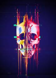 Glitch Skull Yellow Half by Rafael-De-Jongh