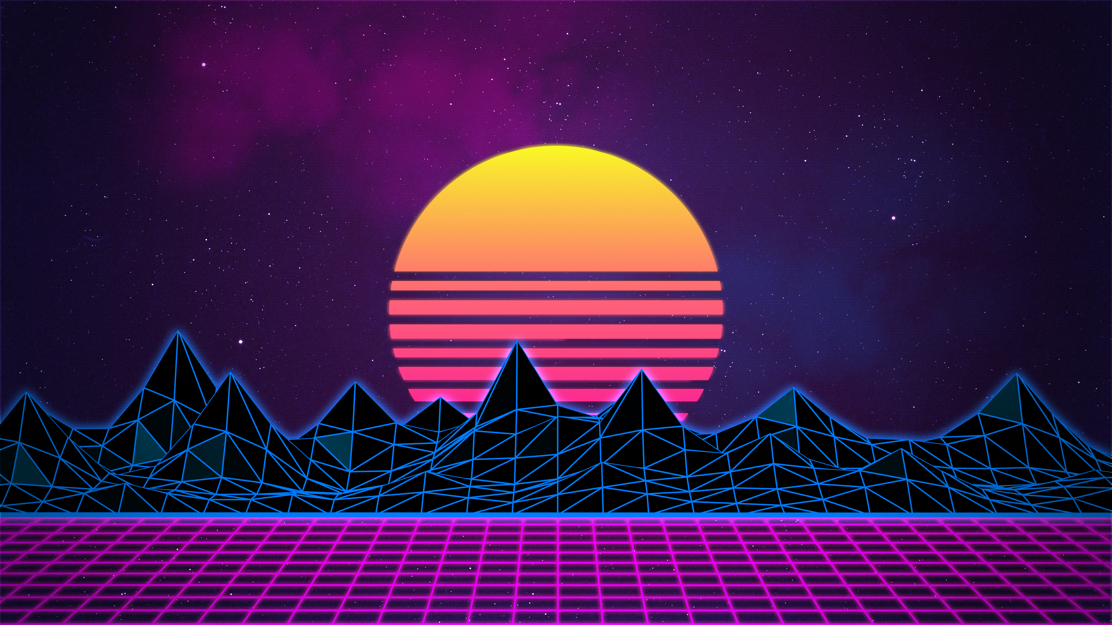 Retrowave Neon 80's Background - 4K