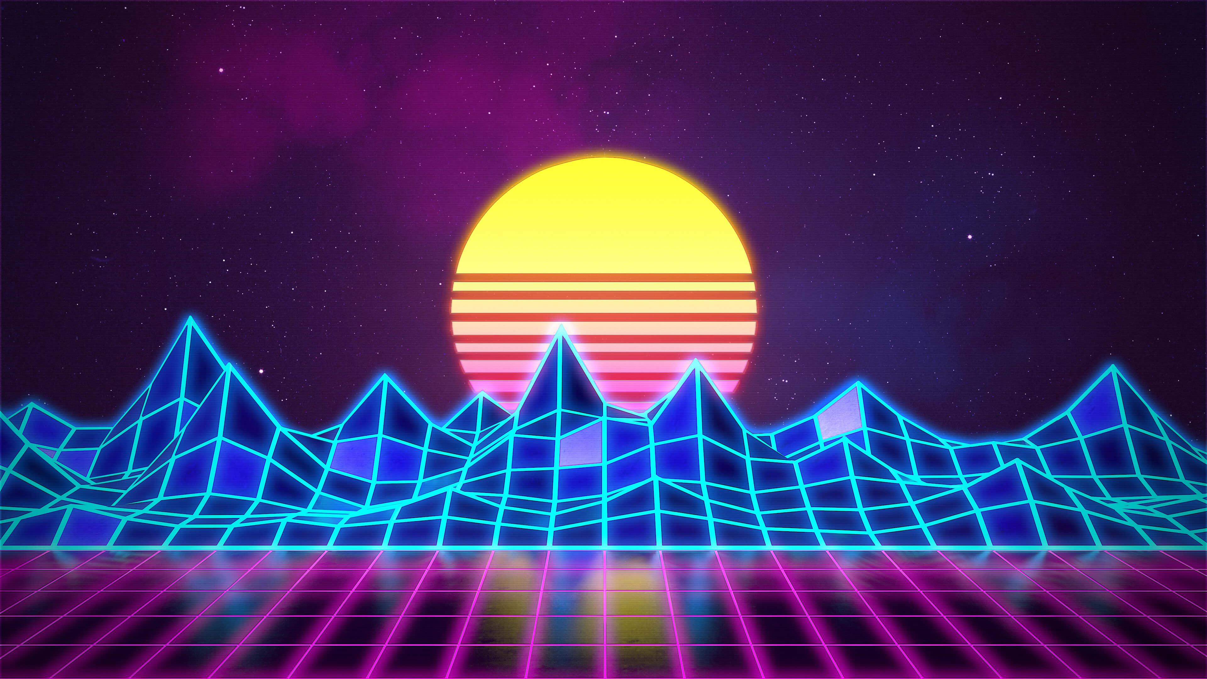 Synthwave - Neon 80s - Background - Render Revamp by Rafael-De-Jongh