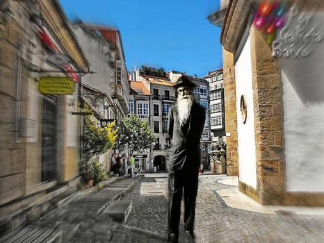 Valle Inclan paseando por Pontevedra