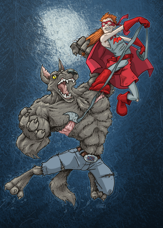 Red Mullet vs. Werewolf by andrewchandler80