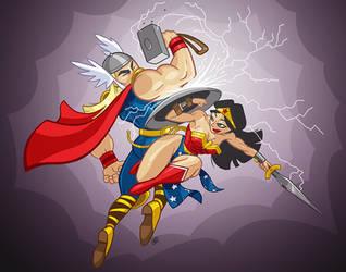 Wonder Woman vs. Thor by andrewchandler80