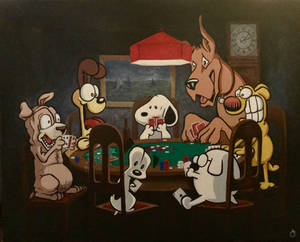 Funny Dogs Playing Poker