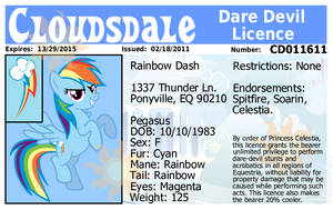 Rainbow Dash's Dare Devil Licence by Framwinkle
