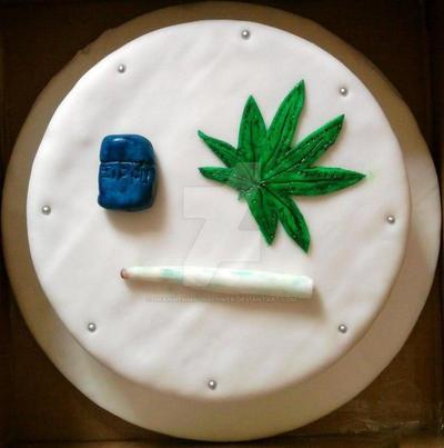 Cannabis Leaf Birthday Cake