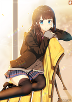 leaning on a chair