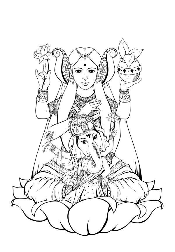 lakshmi and ganesh by katemcblair on deviantart. Black Bedroom Furniture Sets. Home Design Ideas