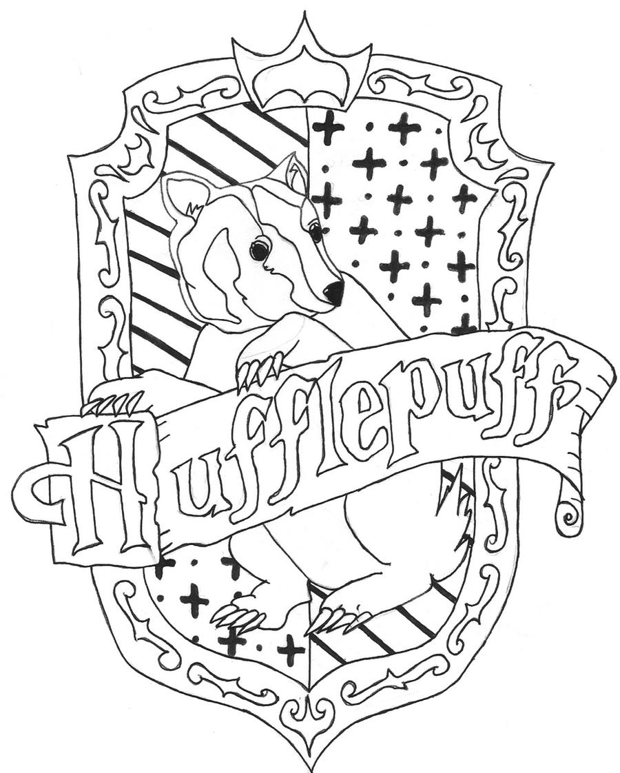 gryffindor crest coloring page - harry potter hufflepuff free colouring pages