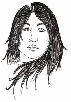 Lineart of a black haired lady