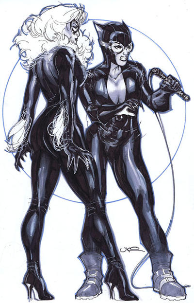 Black Cat and Catwoman by ukosmith