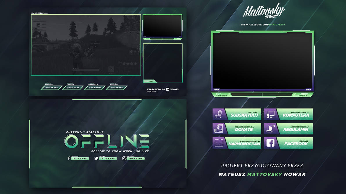 FREE TWITCH STREAM OVERLAY TEMPLATE #1 by mattovsky on