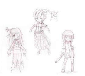3 Cute Monsters - Scribble