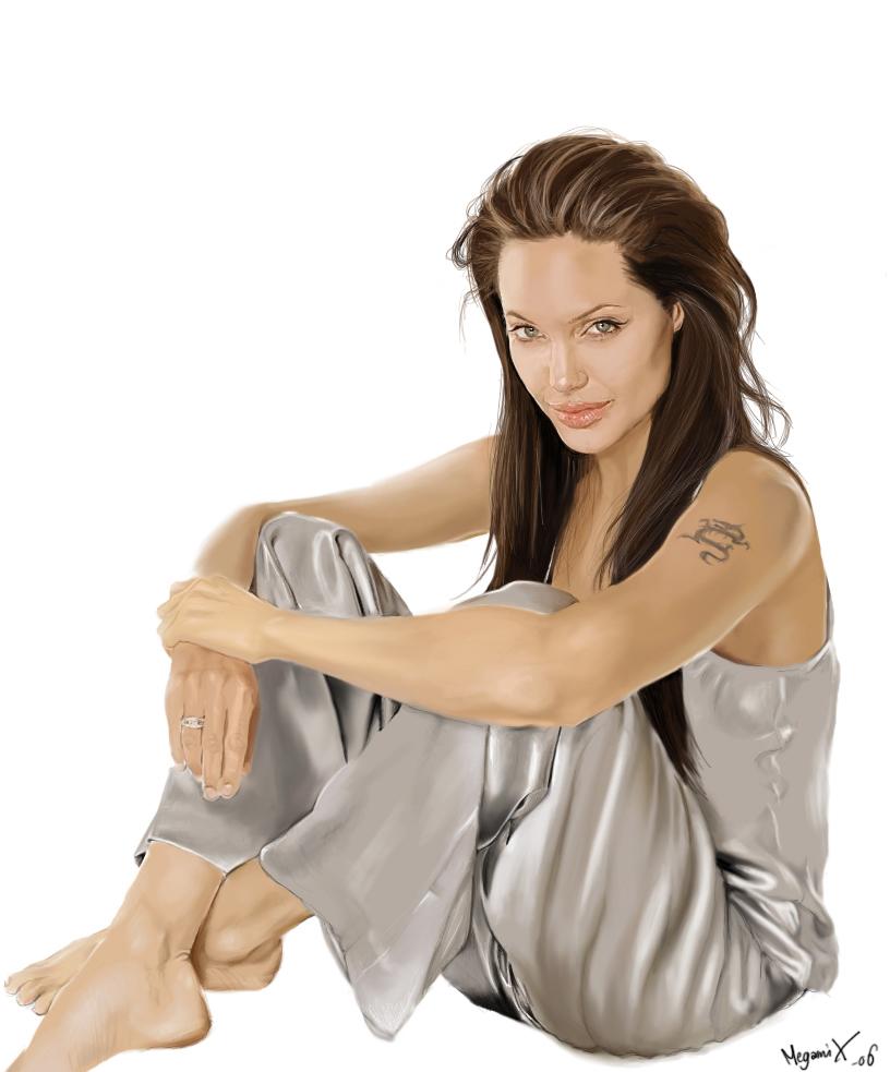 Angelina Jolie Portrait by MegamiX on deviantART