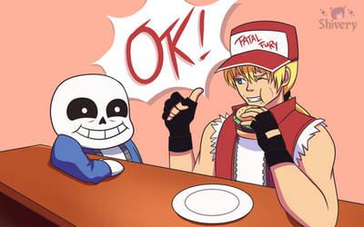 Terry and Sans at Grillby's
