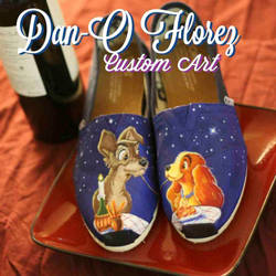 Lady and the Tramp Custom painted TOMS shoes