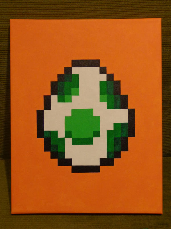 Yoshi Egg Pixel Art Painting Super Mario World By