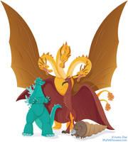 Godzilla and 'friends' by MyPetDinosaur