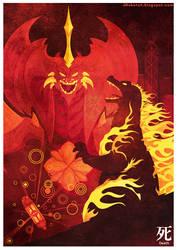 Godzilla vs Destroyah Movie Poster: Series 1 by MyPetDinosaur