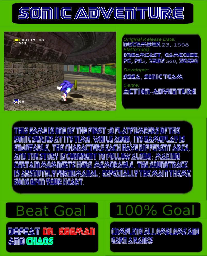 1001 Video Games: Sonic Adventure by JayZeeTee16 on DeviantArt