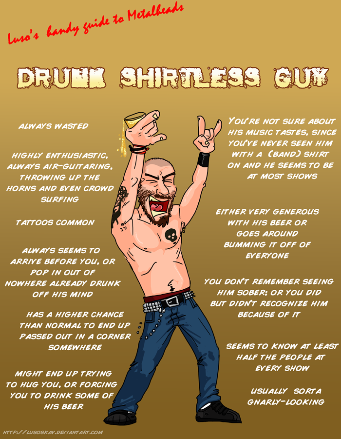 Metal 101- Drunk Shirtless Guy by LusoSkav