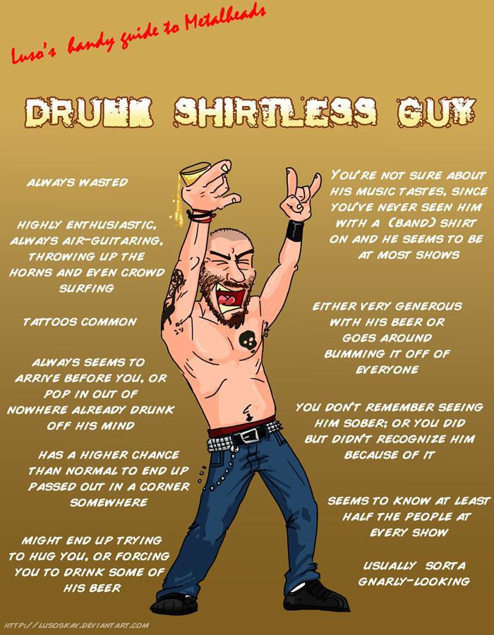 Metal 101- Drunk Shirtless Guy by LusoSkav