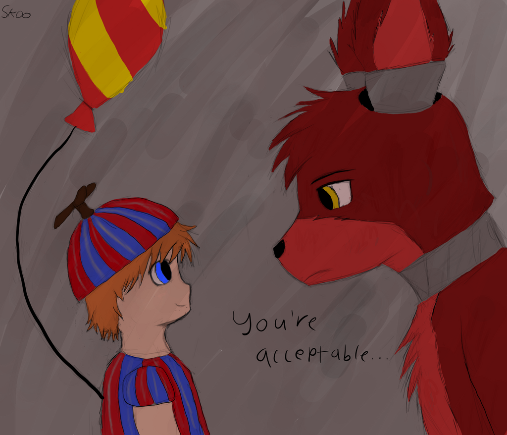 Five nights at freddy s 2 foxy and balloon boy by squirrelster