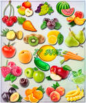 Clipart - Vegetables, fruits and berries on a tran