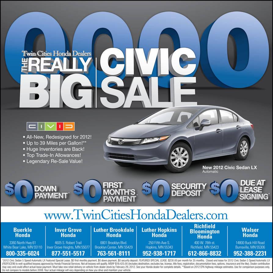 Twin City Honda >> Twin Cities Honda Dealers Big Civic Sale By Tlsivart On Deviantart