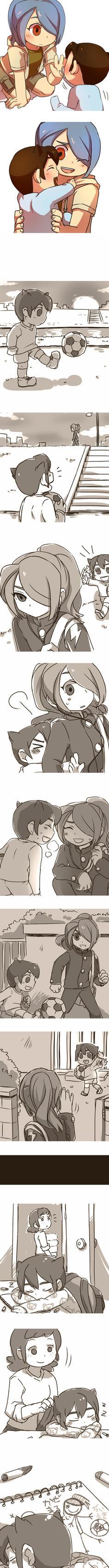 Ina11:Kazemaru and chibi Endo by sagenac
