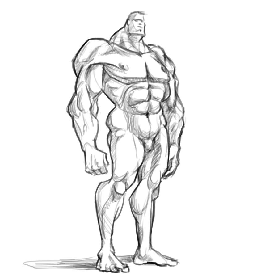It is a picture of Insane Muscular Guy Drawing