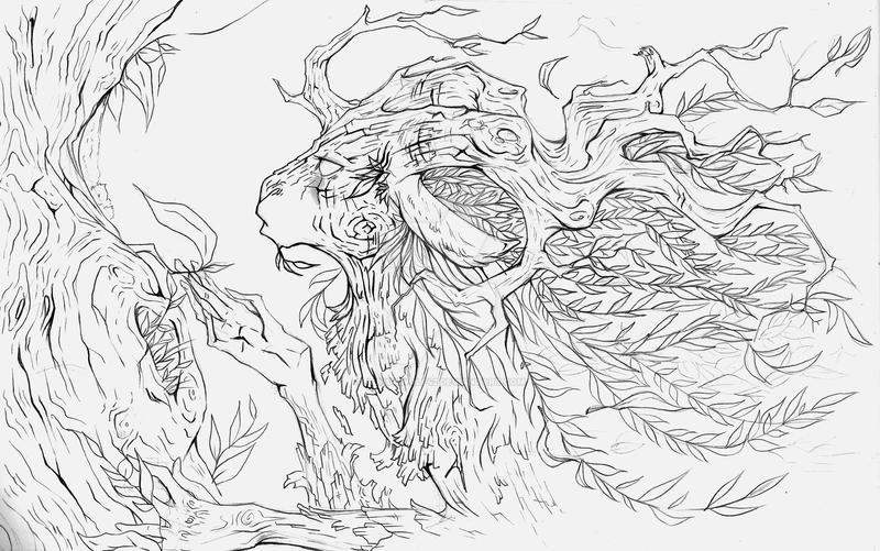 Sketchbook pg 11- Autumn Dryad by Aunumwolf42