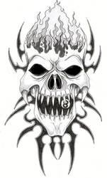 Skull and Tribal by tjiggotjurring