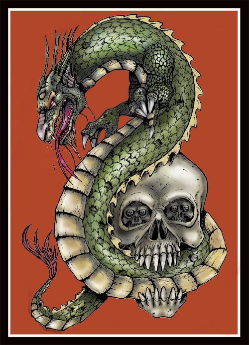 Dragon and skull Tattoo Design by tjiggotjurring