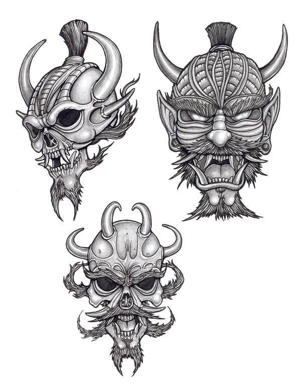 Japanese Dragon Mask Japanese style mask and skulls