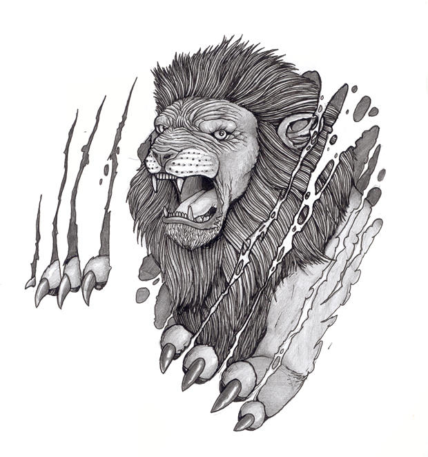 Tattoo Design: Lion And Skin by tjiggotjurring