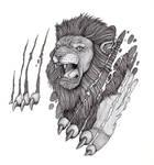 Tattoo Design: Lion And Skin